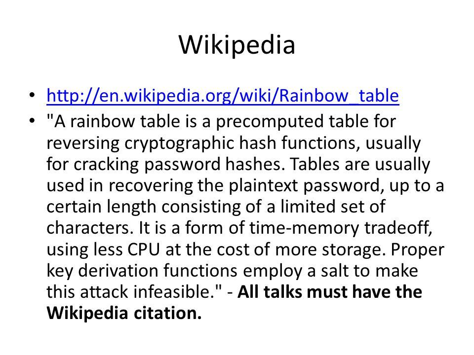 Wikipedia http://en.wikipedia.org/wiki/Rainbow_table
