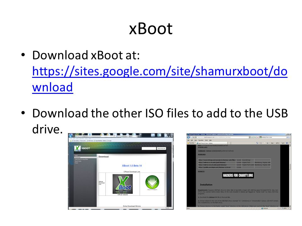 xBoot Download xBoot at: https://sites.google.com/site/shamurxboot/download.