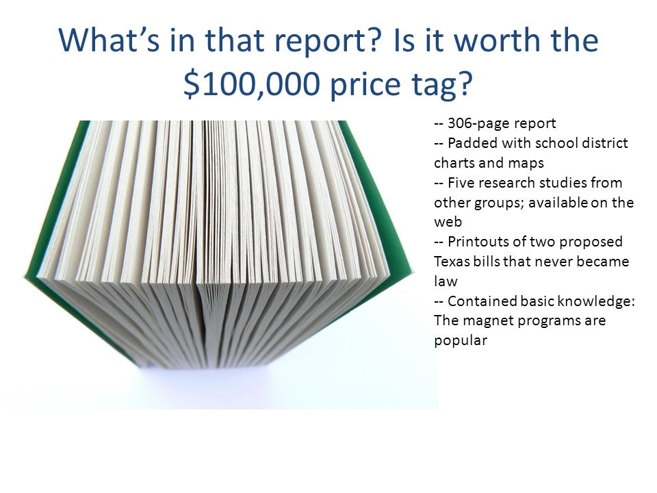 What's in that report Is it worth the $100,000 price tag