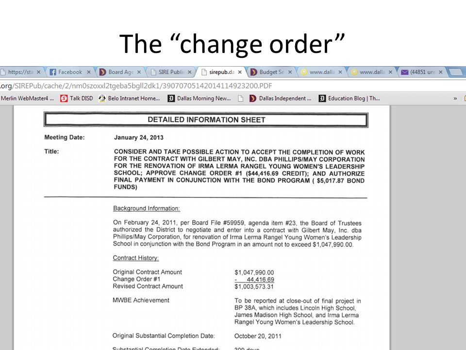 The change order