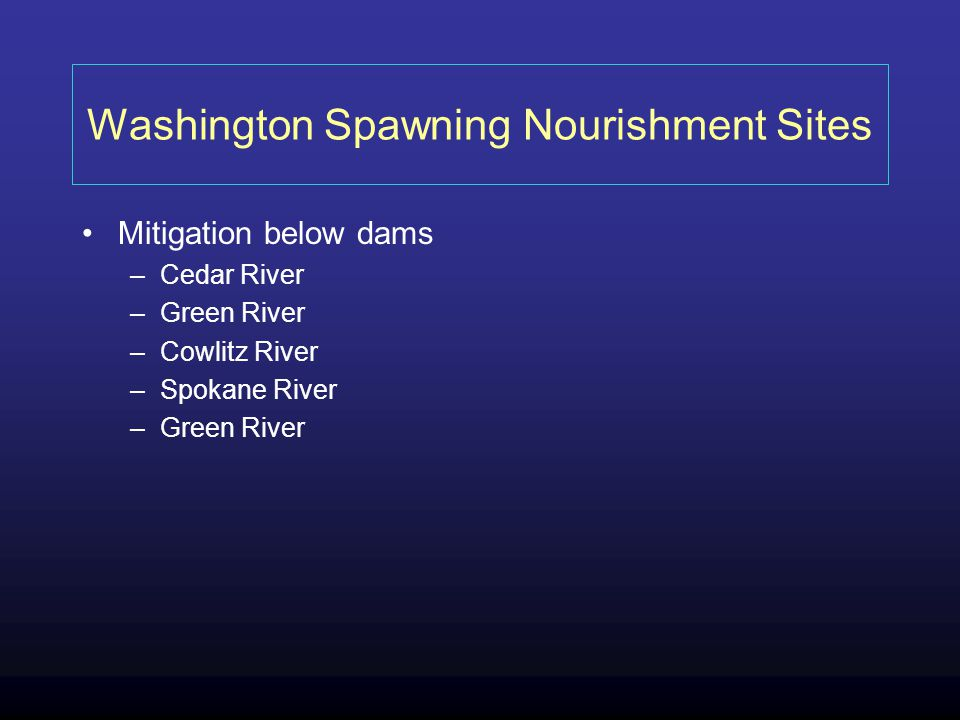 Washington Spawning Nourishment Sites