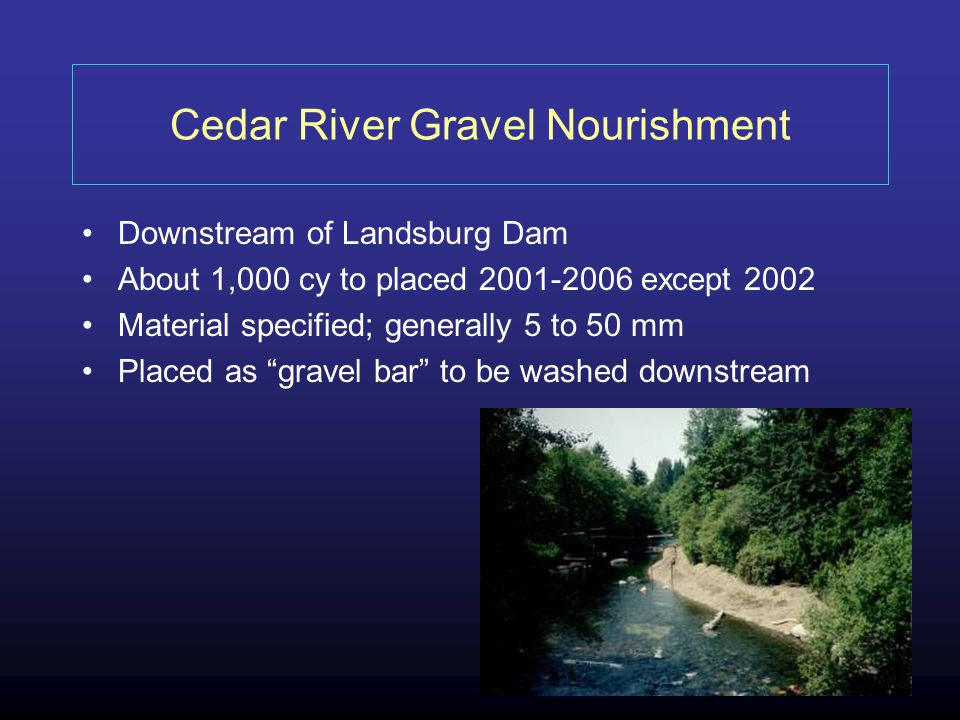 Cedar River Gravel Nourishment