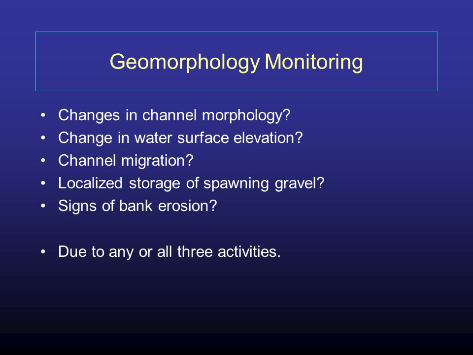Geomorphology Monitoring