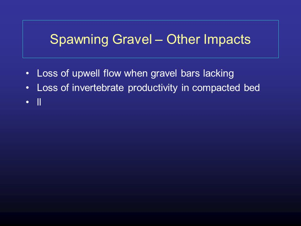 Spawning Gravel – Other Impacts