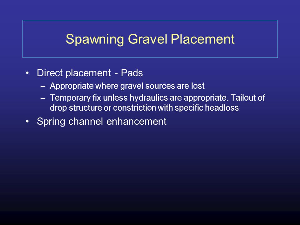 Spawning Gravel Placement
