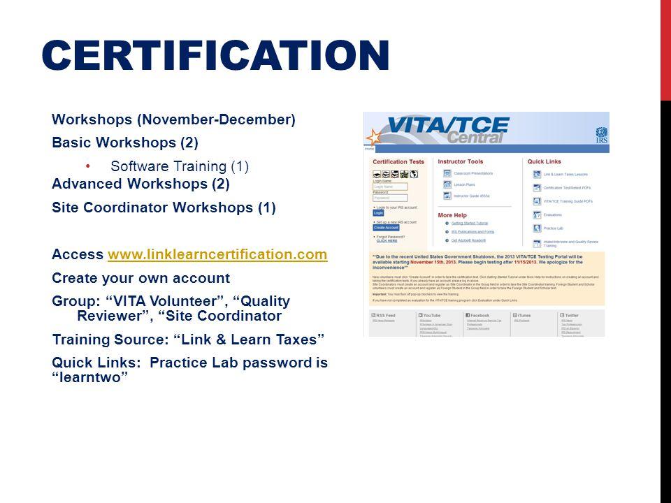 certification Workshops (November-December) Basic Workshops (2)