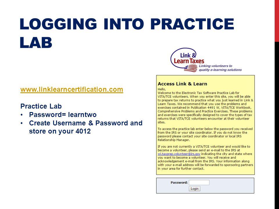 Logging into practice lab
