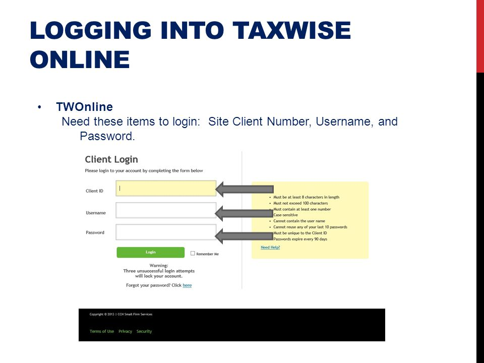 Logging into taxwise online