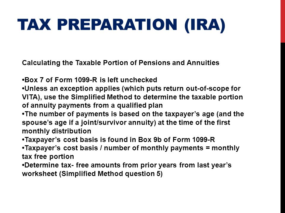 Tax preparation (ira) Calculating the Taxable Portion of Pensions and Annuities. •Box 7 of Form 1099-R is left unchecked.