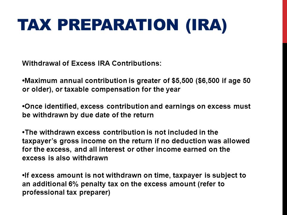 Tax preparation (ira) Withdrawal of Excess IRA Contributions: