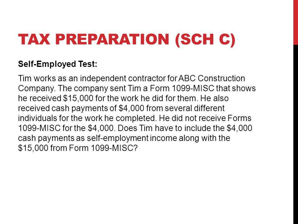 Tax preparation (sch c)