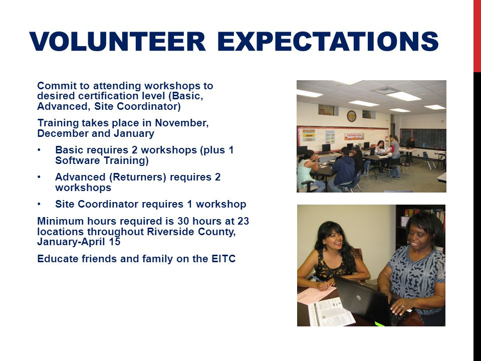 Volunteer expectations