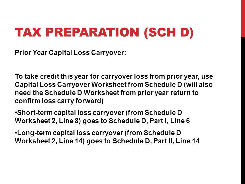 VOLUNTEER INCOME TAX ASSISTANCE VITA TRAINING REV 111314 ppt – Capital Loss Carryover Worksheet