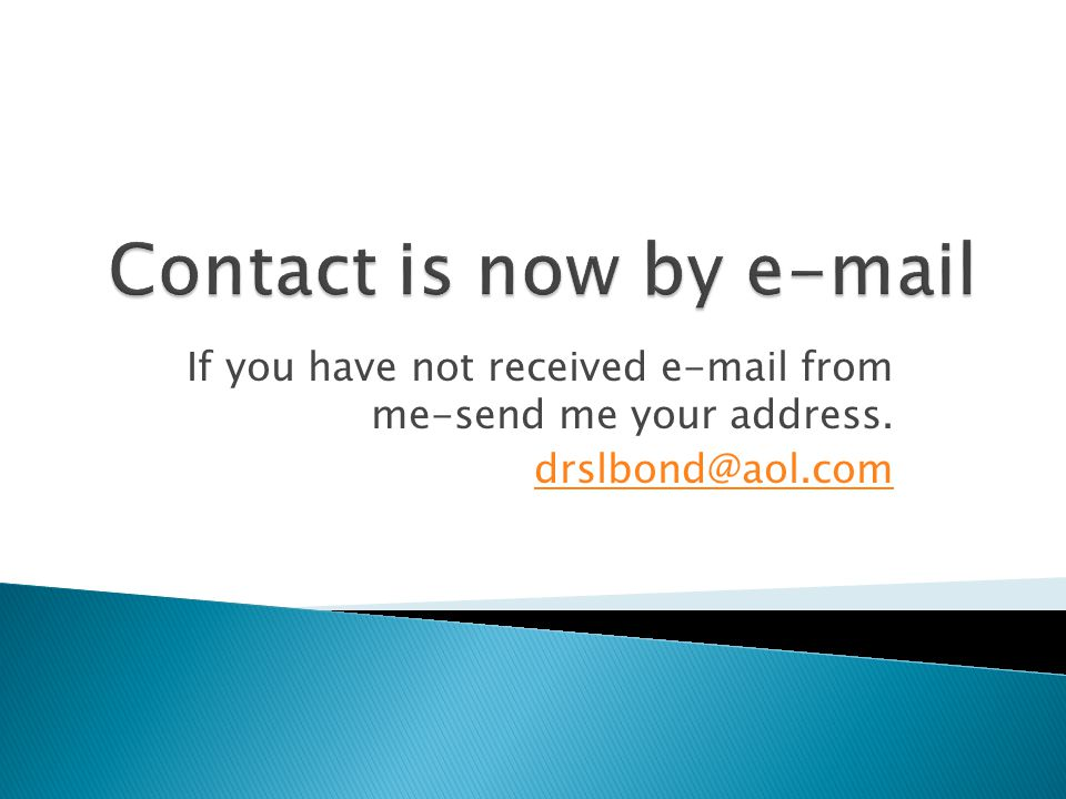 Contact is now by e-mail