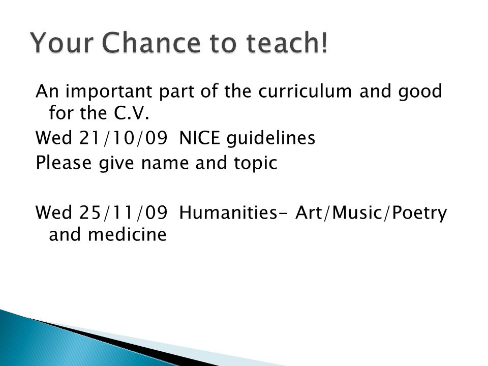 Your Chance to teach! Please give name and topic