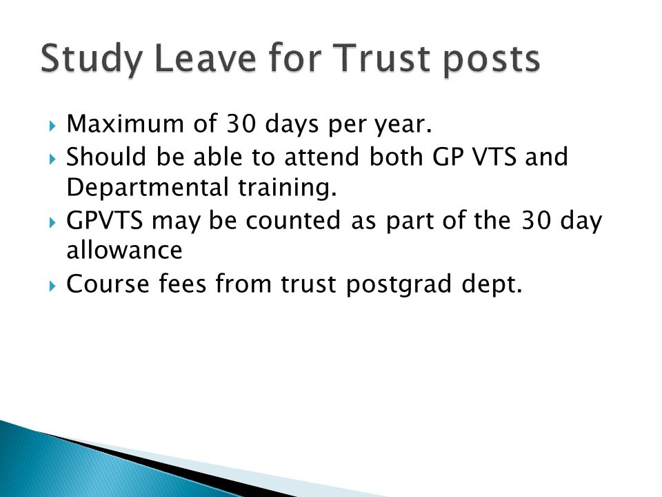 Study Leave for Trust posts