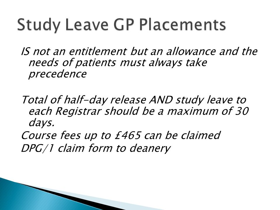 Study Leave GP Placements