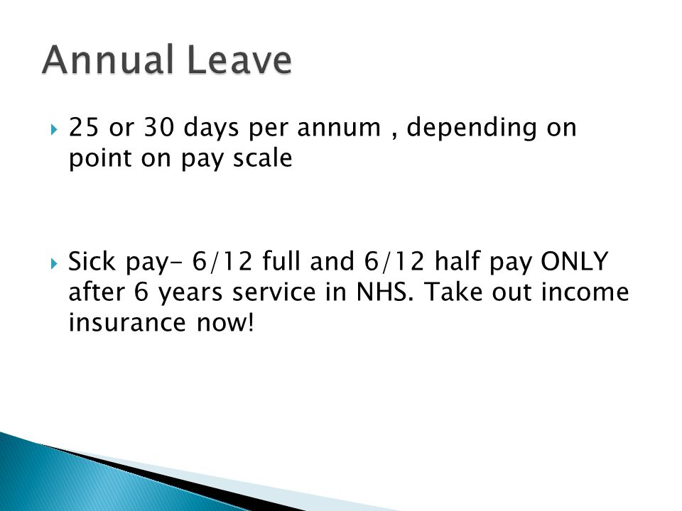 Annual Leave 25 or 30 days per annum , depending on point on pay scale