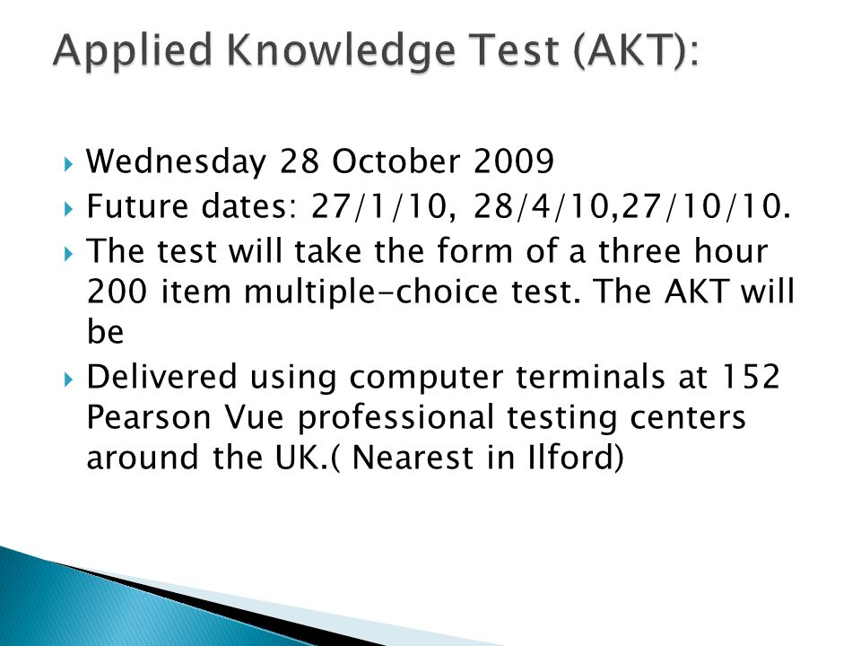 Applied Knowledge Test (AKT):