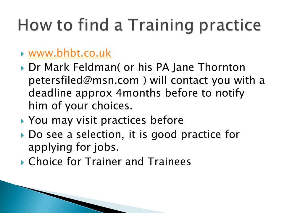 How to find a Training practice