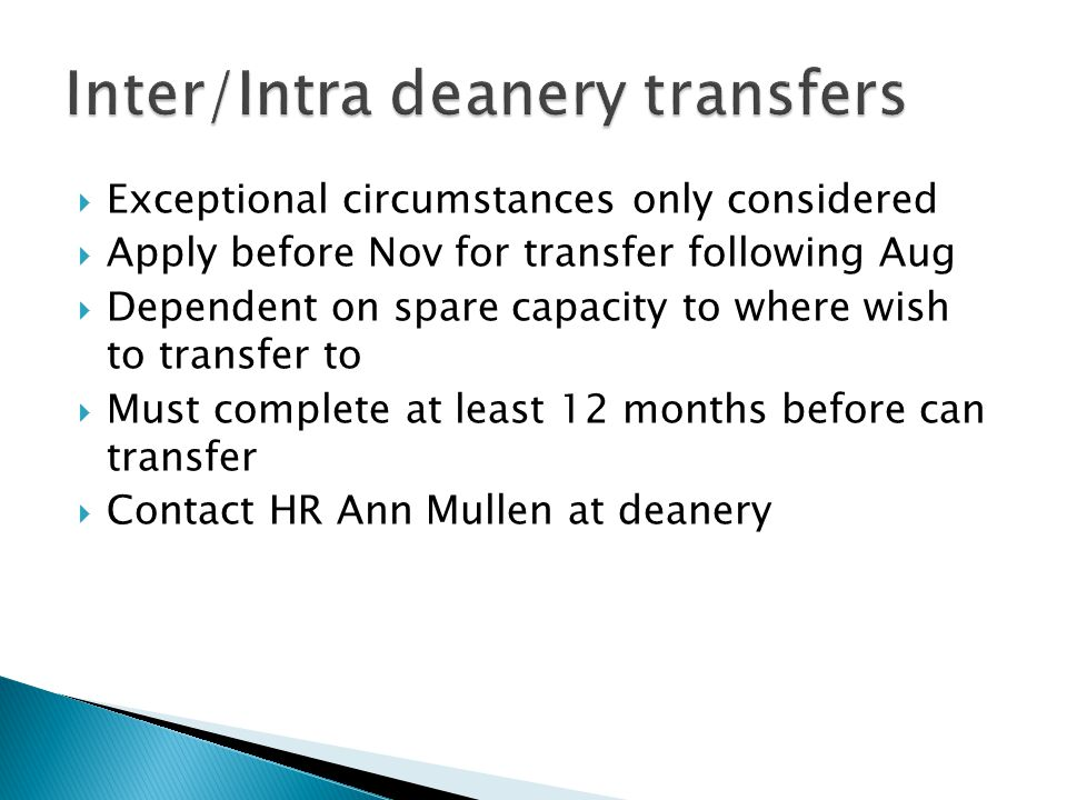 Inter/Intra deanery transfers