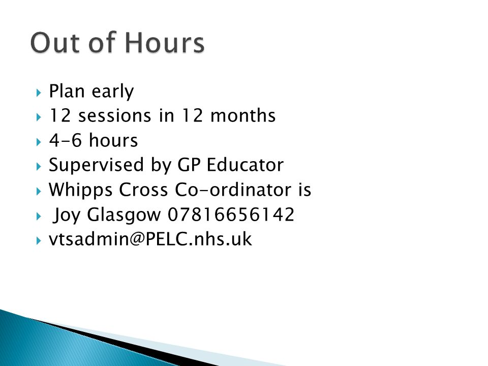 Out of Hours Plan early 12 sessions in 12 months 4-6 hours