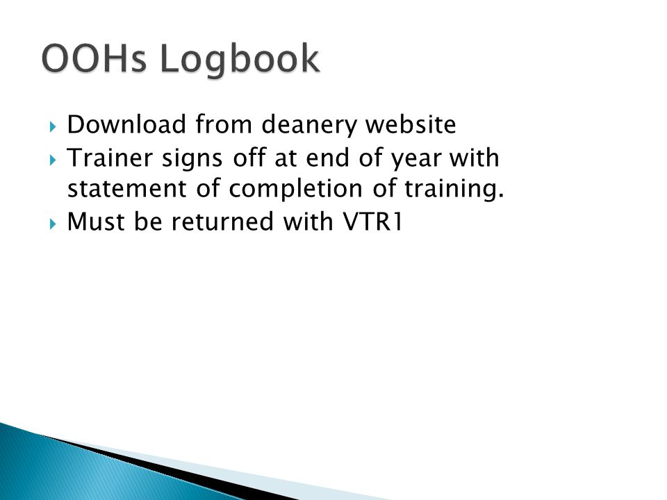 OOHs Logbook Download from deanery website