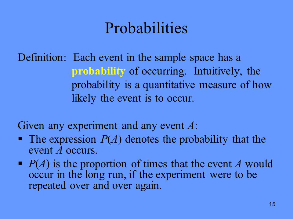 Probabilities Definition: Each event in the sample space has a