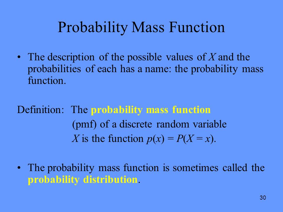 Probability Mass Function