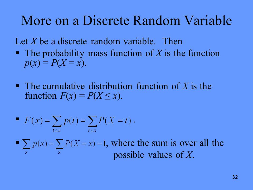 More on a Discrete Random Variable