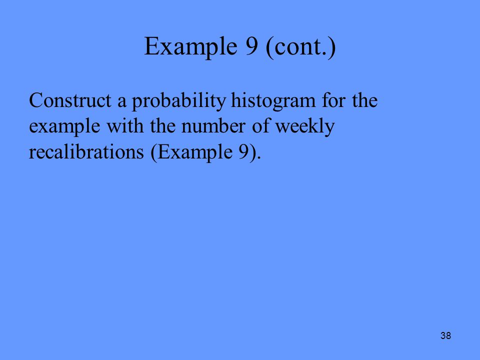Example 9 (cont.) Construct a probability histogram for the example with the number of weekly recalibrations (Example 9).