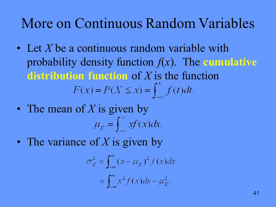More on Continuous Random Variables