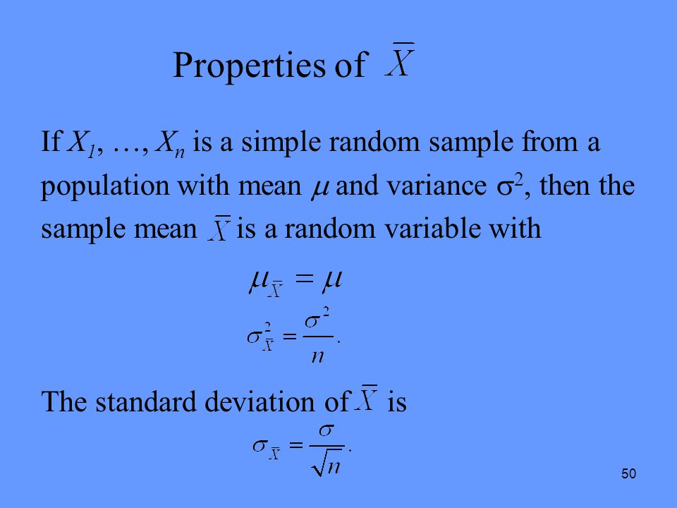 Properties of If X1, …, Xn is a simple random sample from a