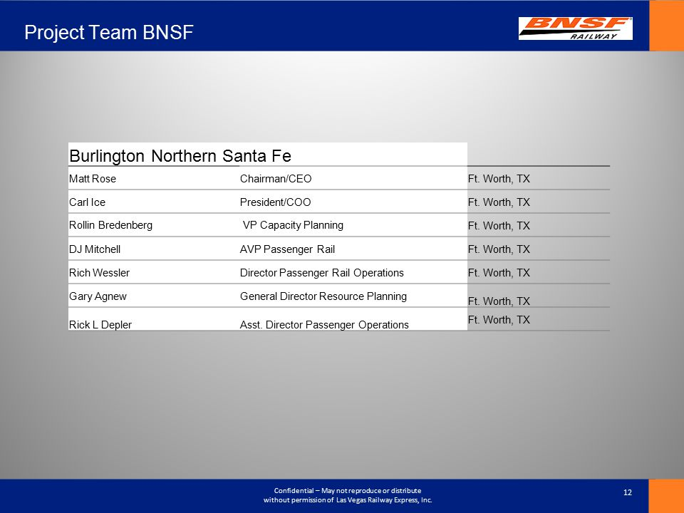 Project Team BNSF Burlington Northern Santa Fe Matt Rose Chairman/CEO
