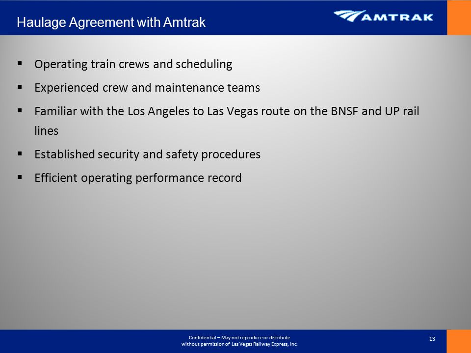 Haulage Agreement with Amtrak