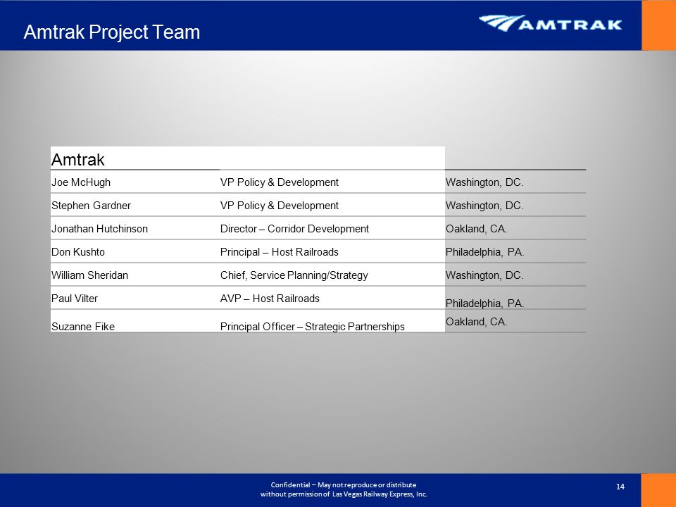 Amtrak Project Team Amtrak Joe McHugh VP Policy & Development