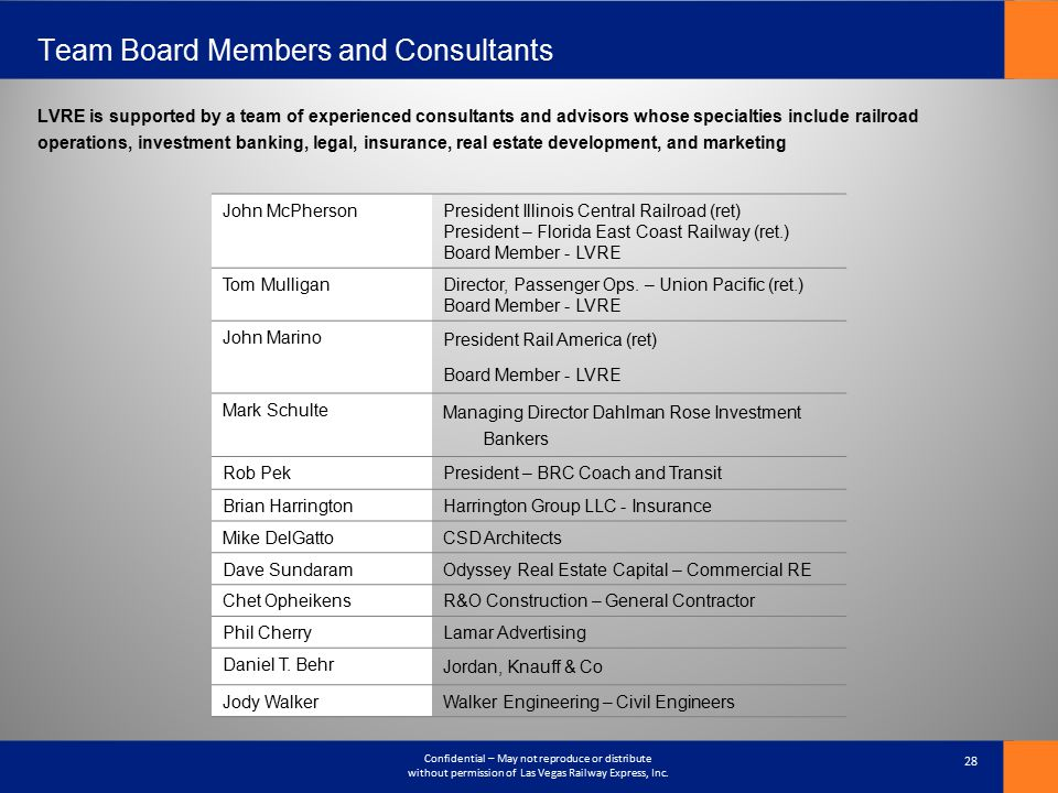 Team Board Members and Consultants