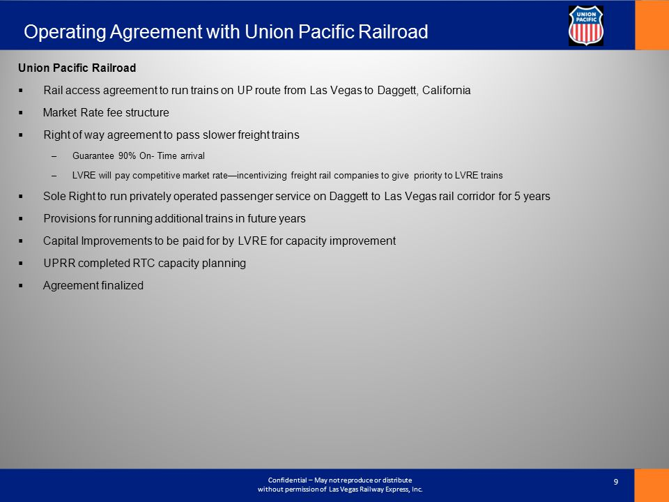 Operating Agreement with Union Pacific Railroad