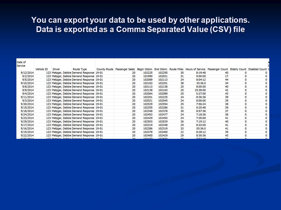 You can export your data to be used by other applications