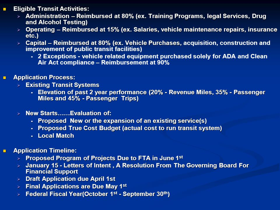 Eligible Transit Activities: