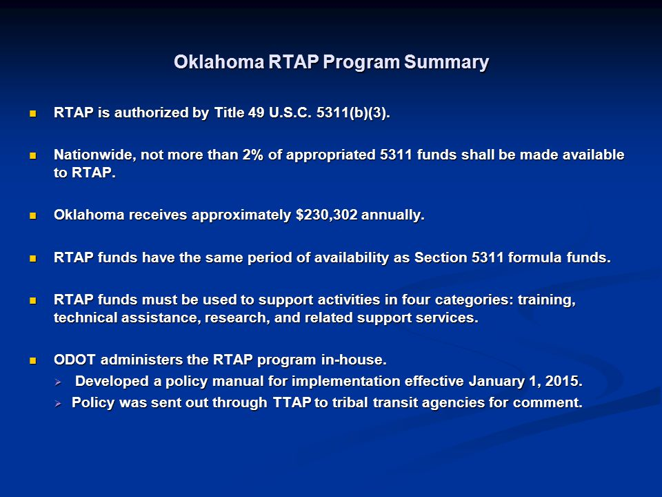 Oklahoma RTAP Program Summary