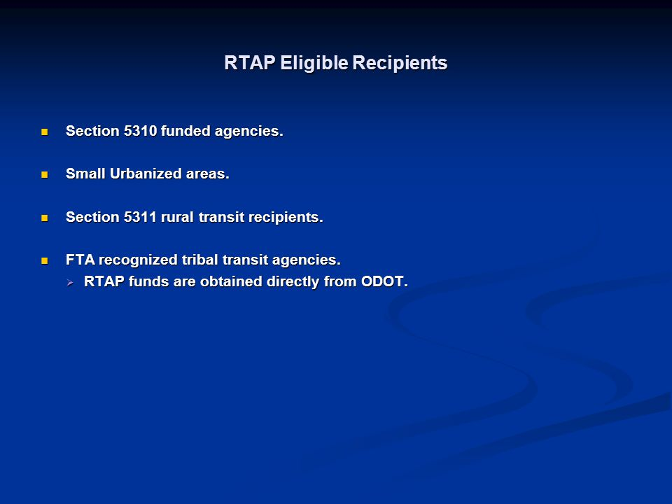 RTAP Eligible Recipients