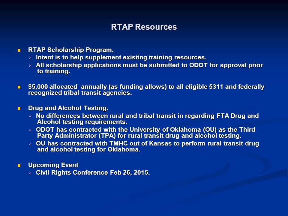 RTAP Resources RTAP Scholarship Program.