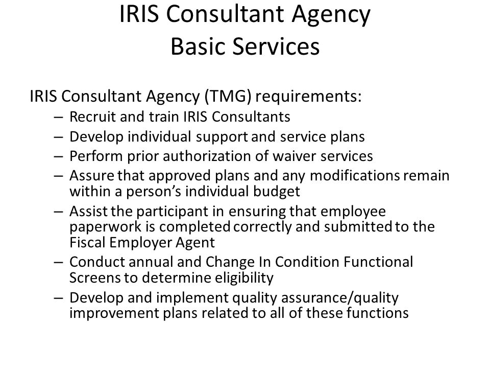IRIS Consultant Agency Basic Services