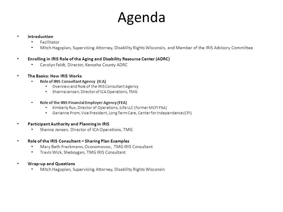Agenda Introduction Facilitator