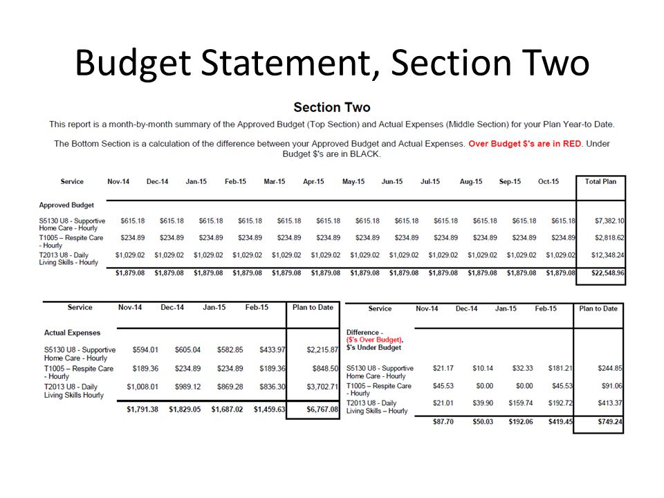 Budget Statement, Section Two