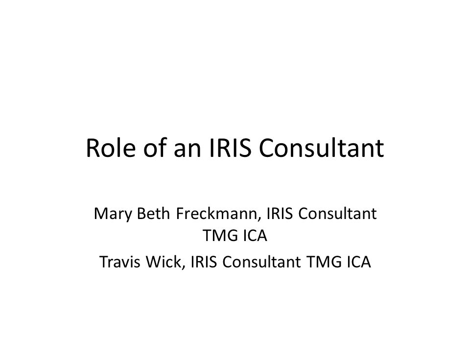 Role of an IRIS Consultant