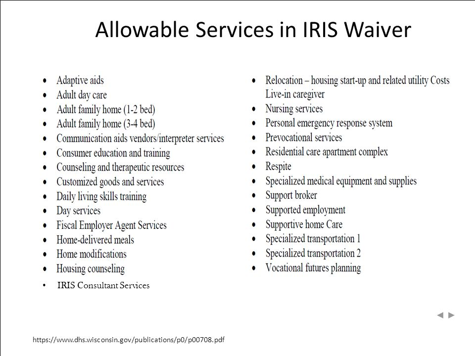 Allowable Services in IRIS Waiver