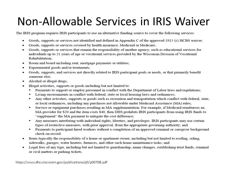 Non-Allowable Services in IRIS Waiver