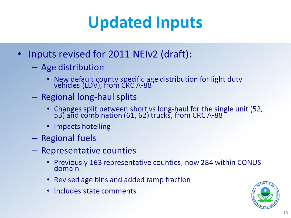Updated Inputs Inputs revised for 2011 NEIv2 (draft): Age distribution